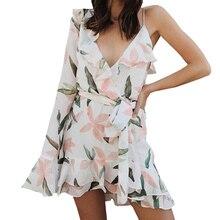 V шеи печати богемное пляжное платье asymmestrical оборками летнее платье женщин 2018 повязку элегантные Короткие свадебные платья платье