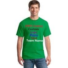 Men DIY Custom Logo Photo Text Printed T shirt Navy Black Male Man Customized Made Personalized