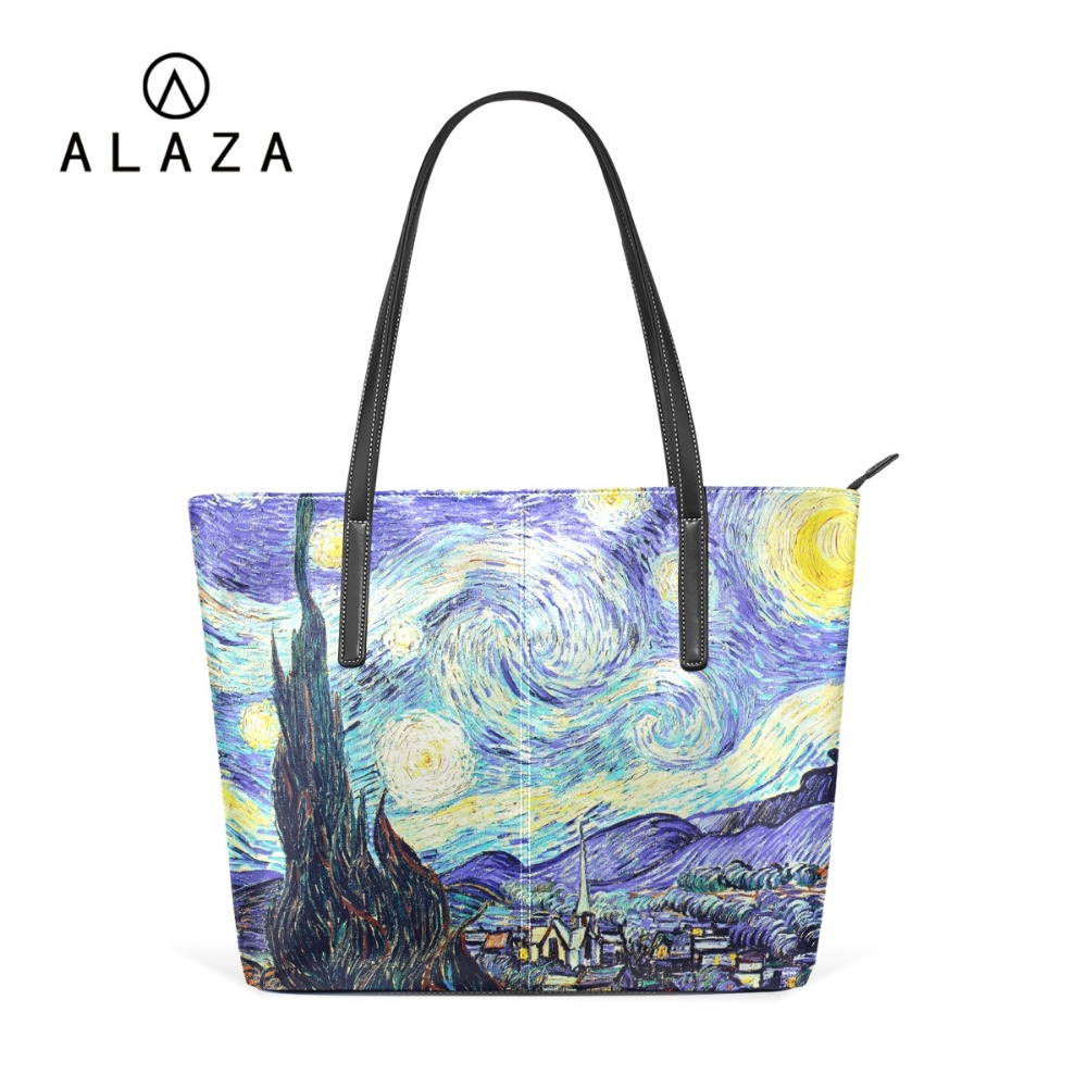 b115cb7d9 ALAZA 8 Classic Painting by Van Gogh Big Tote Bag PU Leather Handbag Men  Women Shoulder