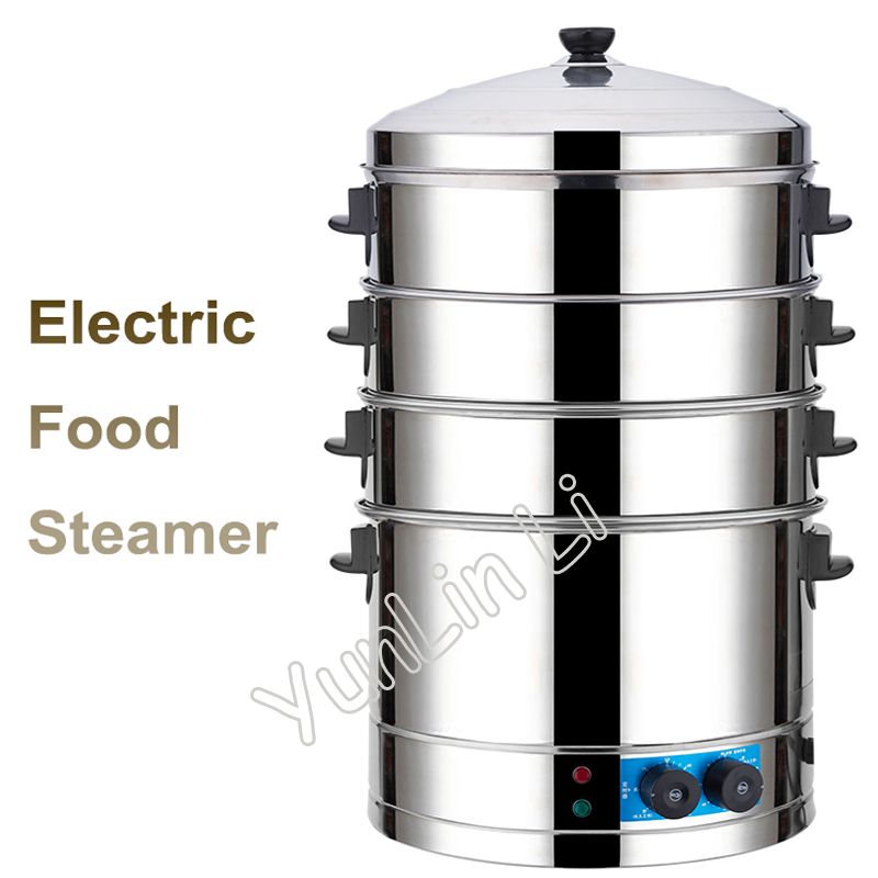 Commercial Electric Steamer Stainless Steel Multi-Functional Steaming Machine With Large Capacity & Time Seting Steamer SYL-400 electric lunch box double layer stainless steel liner cooking lunch boxes multifunction plug in lunch box steamed rice steamer
