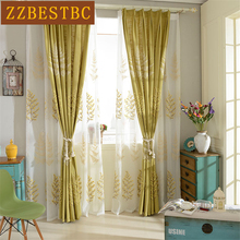 Luxury European three-dimensional embroidered tree Blackout curtains for Living Room High-grade Cotton Linen Curtain for Bedroom