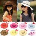 2015 Summer Girls Sun Sombreros Niños del Color Sólido de Sun Caps Kids Accesorios Envío Gratis 5 UNIDS