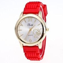 Relógio Marca As Mulheres casuais Mulheres de Luxo Cristal Dial Analog de Quartzo do Silicone Relógio de Pulso Banda de Silicone Presentes Assista Relojes Mujer