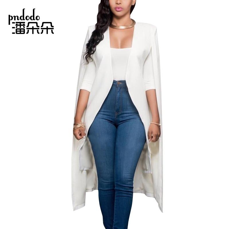 Pndodo Plus Size Cloak Sleeve Open Front Blazer Women Slim Fit Notched Coat Jacket Elegant Suits Blazers Office Work Outfits