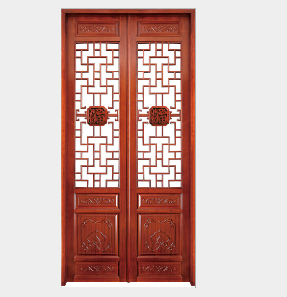 Solid Wood Door Chinese Style Double Security Door House Architecture 05