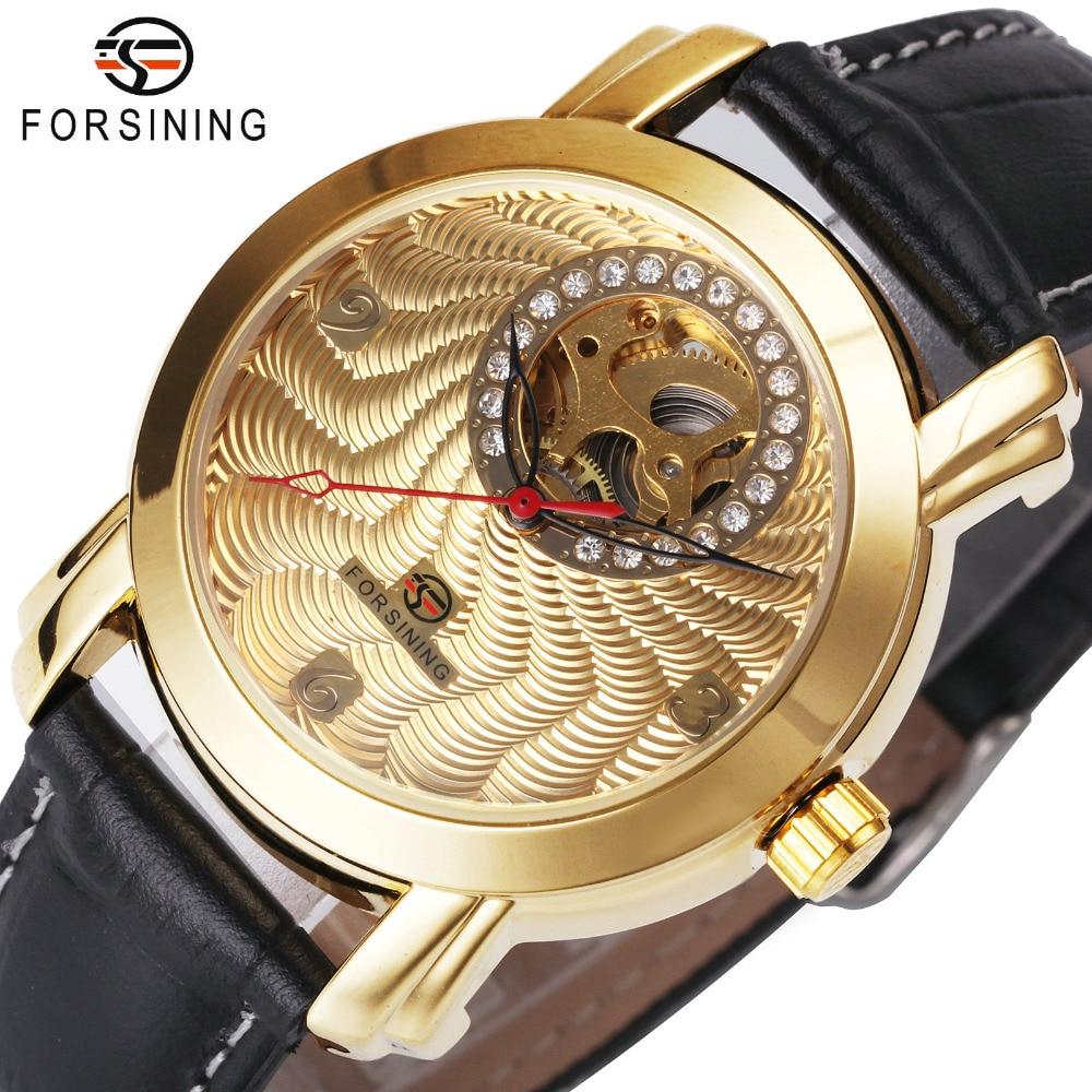 f8ccf91b184 Luxo para Mulheres dos Homens Decoração de Cristal do Presente Forsining  Relógios Mecânicos 2017 Moda do Amante Delicado Louvre Série de Marcação Oco