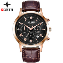 цена на NORTH Mens Watches Top Brand Luxury Chronograph Quartz Watch Men Gold Waterproof Sport Watch Military Clock Relogio Masculino
