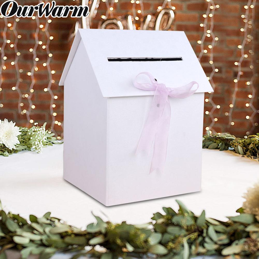 OurWarm Country Style Wedding Card Box White Paperboard DIY Gift Card Box Advice Storage Money Boxes Baby Shower Birthday Party