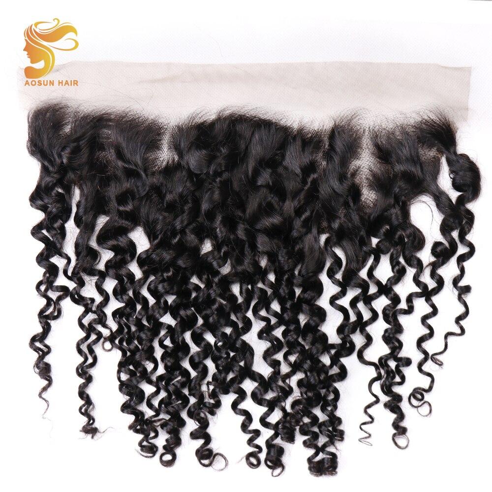 AOSUN HAIR Brazilian Remy Hair Weave Double Drawn Fumi Kinky Curly 13 4 Lace Frontal 100
