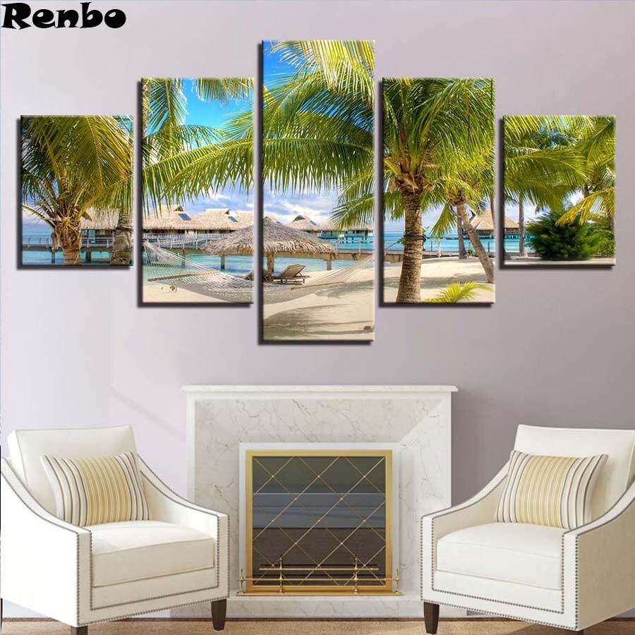 Bricolage 5D diamant broderie paysage plein carré diamant peinture 5 pièces cocotiers plage paysage marin peinture mosaïque point de croix