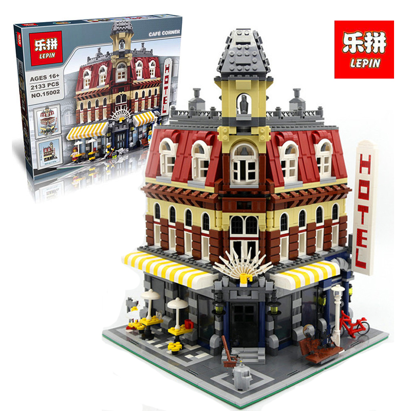 LEPIN 15002 2133Pcs New Cafe Corner Model Building Kits Blocks Kid DIY Educational legoINGlys Children day Gift brinquedos 10182 new lepin 15002 2133pcs cafe corner model building kits blocks kid diy educational toy children day gift brinquedos 10182