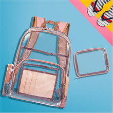 BIG SALE 2 PCS 2019 New 31*15*42 cm Women Transparent PVC Backpacks Buckles String Students Girls Fashion 7 colors School Bags