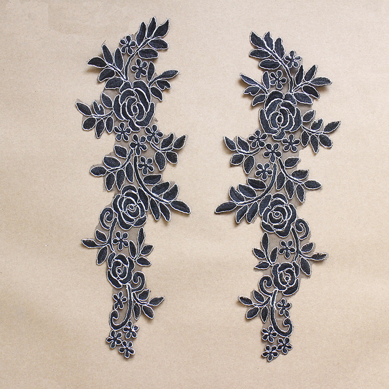 2Pcs White Black Embroidery Patch Applique Lace Patches For Wedding Dress DIY Bride Hair Accessories Clothing Decoration HB74