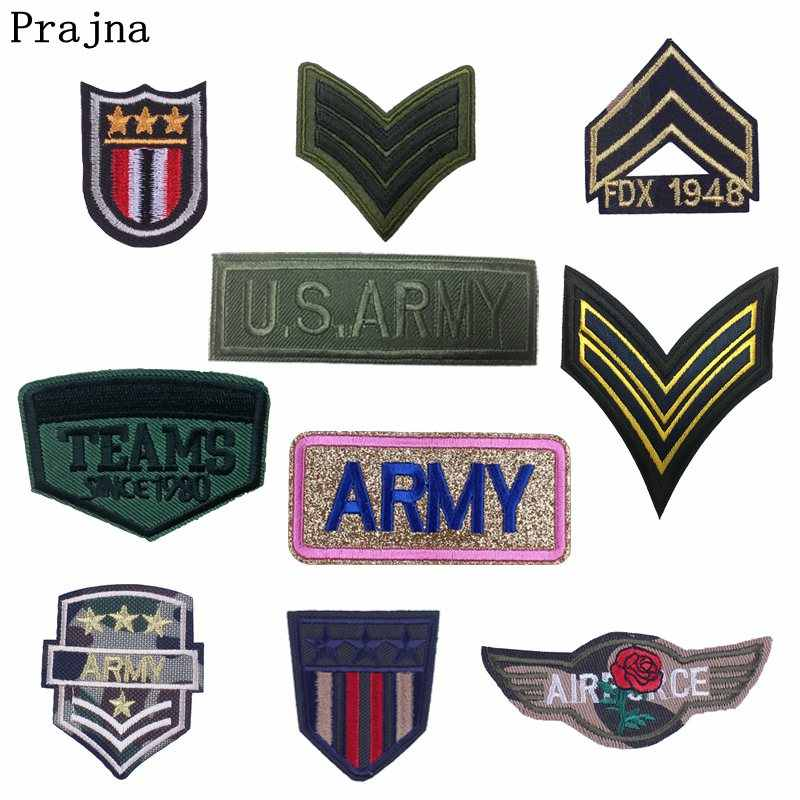 Prajna Army Military Patch Embroidered Patches for Clothing Sew Iron on Clothes Stripes Parches Badges Punk Rock Morale Patch