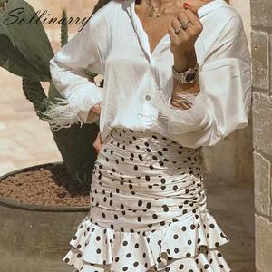 Image 4 - Sollinarry, узор в горошек, Элегантные короткие женские юбки, высокая талия, Модные осенние юбки с оборками, Дамская зимняя облегающая юбка в стиле ретро
