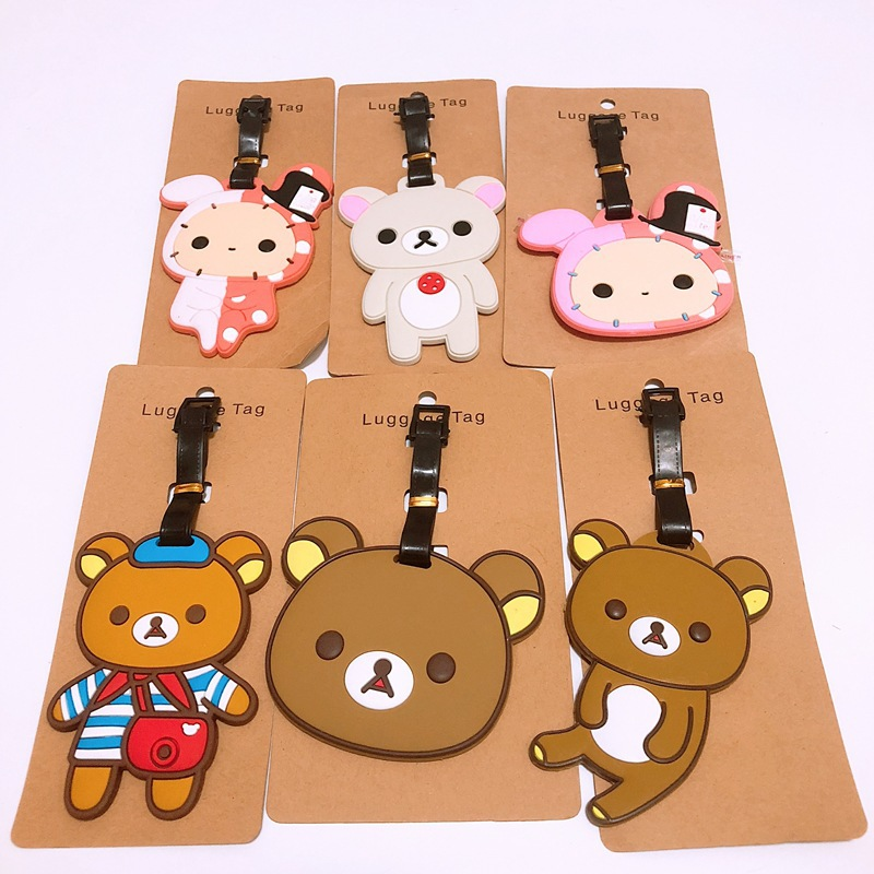 Rilakkuma Cartoon Cosplay PVC Key Chain Cute Personality Funny Luggage Boarding Pass Travel Baggage Hanging Ornaments Bags Tags