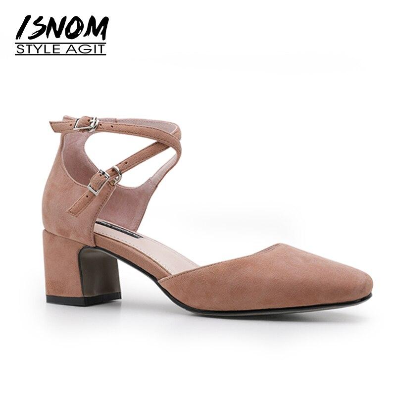 ISNOM Big Size 40 Ankle Strap High Heels Sandals Women Pointed Toe Kid Suede Footwear Fashion