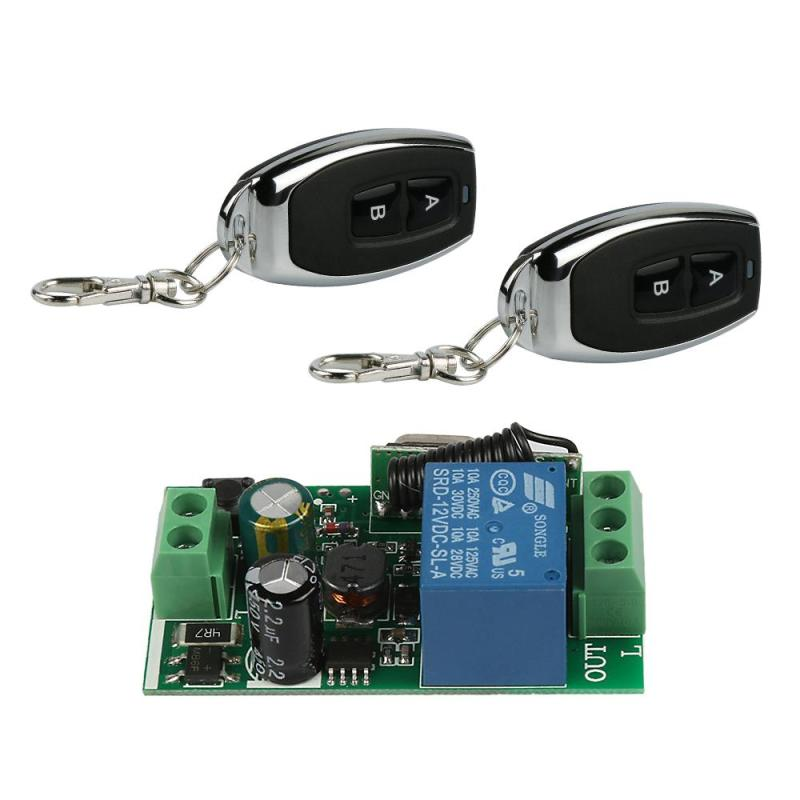 2pcs 433 MHz RF 2 Channel Remote Control Learning Code 1527 Key Fob Transmitter And 1 CH Relay Receiver Module Diy Garage Opener universal 433 mhz 2 channel remote control learning code 1527 relay receiver module wireless diy garage gate door switch dc 12v