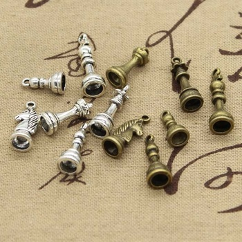15pcs Charms Chess King Queen Rook Knight Bishop Pawn Pendant Making fit,Vintage Tibetan Bronze Silver color,DIY For Necklace image