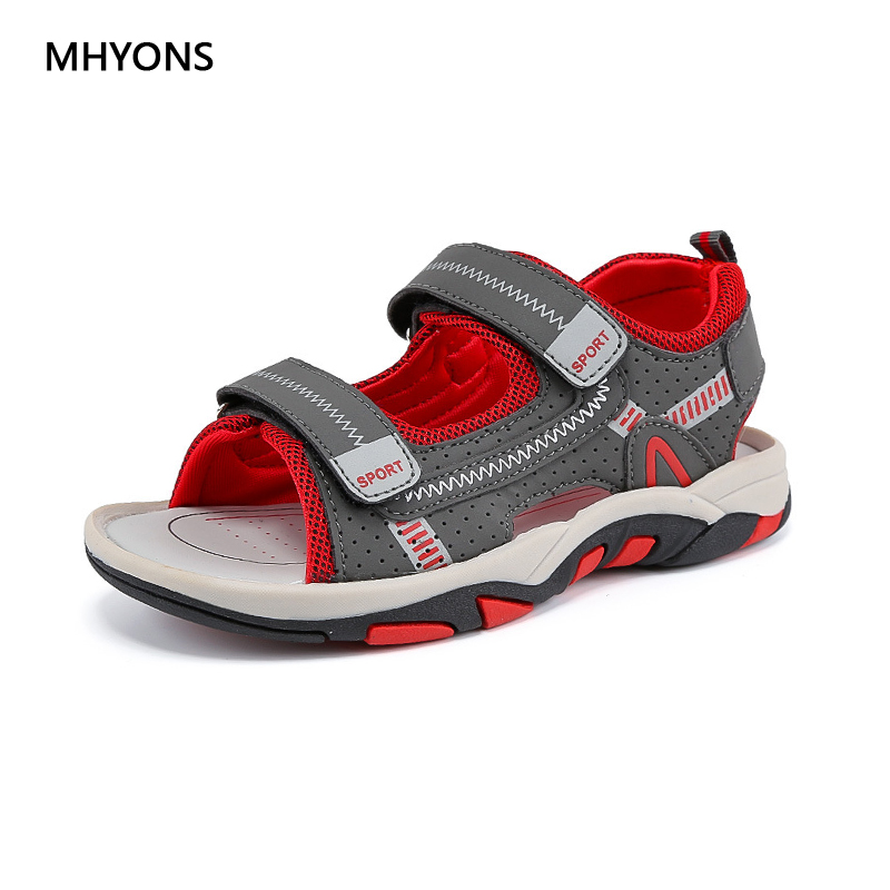 MHYONS 2018 Summer Kids Shoes Brand Closed Toe Toddler Boys Sandals Flat with Fashion Sport PU Leather Baby Boys Sandals Shoes
