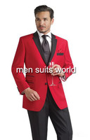Best New slim fit suit peak lapel red men's wedding tuxedo Men groom suit One Button and Single breasted Dinner Jackets for Men