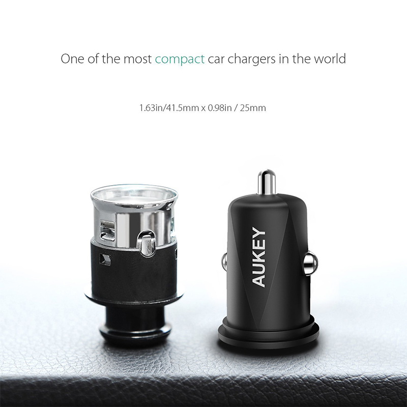 AUKEY USB Car Charger 4.8A Dual USB Mobile Phone Fast Auto Charger for iPhone X 8 7 6 SE iPad Tablets Samsung Xiaomi Car-Charger