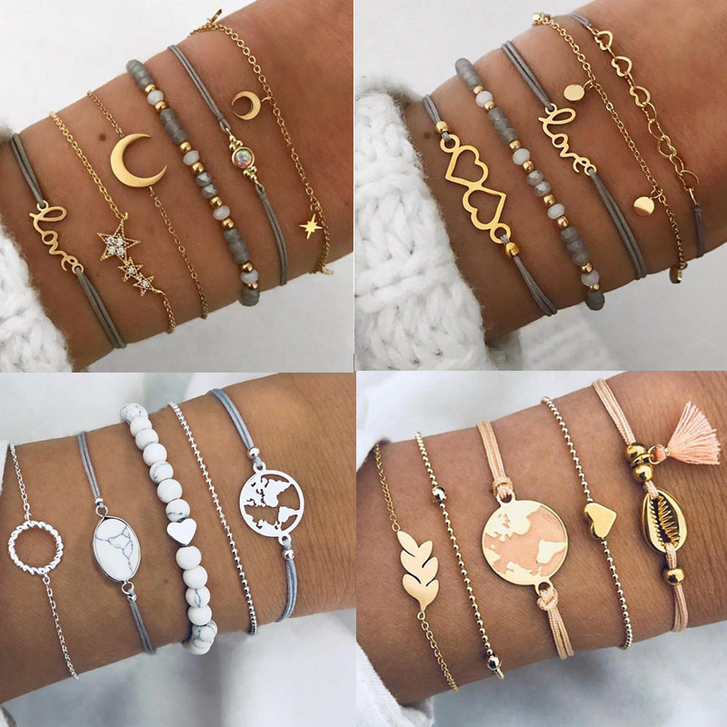 DIEZI Bangles Bracelets-Sets Jewelry Heart Charm Gifts Star-Ocean Grey Moon-Color Bohemian title=