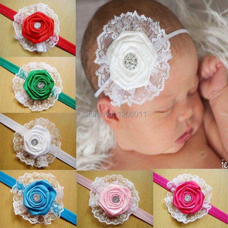 Девочки роза бутон laceflowers младенцы дети волос аксессуары волос лента дети девочка волос аксессуары 12 пс / много