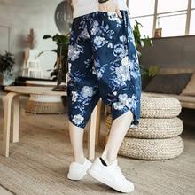 Инфляция китайский стиль мужской свитер брюки Печать боковые полосы Карманы Мужские Винтажные спортивные брюки