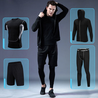 2018 New Men's Running Sets 3/4pcs/set Compression Sport Suits Basketball Tights Workout Gym Jacket Fitness Jogging Sportswear