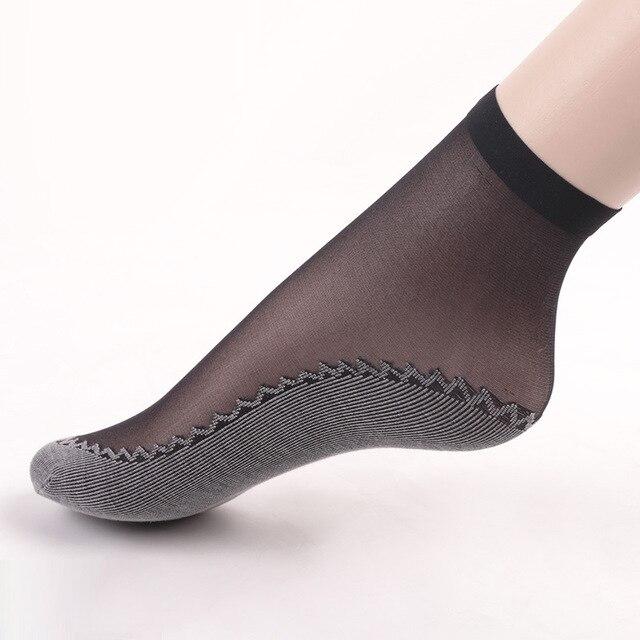 10 Pairs/ Lot Velvet Silk Womens Summer Socks Cotton Bottom Soft Non Slip Sole Massage Wicking Slip-resistant Spring Autumn Sock 3