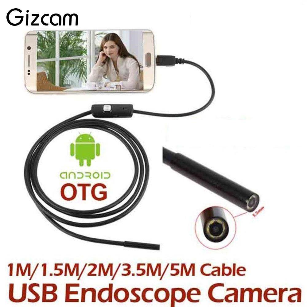 Gizcam 1/1.5/2/3.5/5m OTG Android Endoscope Inspection USB Borescope LED Tube Mini Camera Scope Car endoscope For smart phone headset bullet external camera for usb otg compatible android smartphones