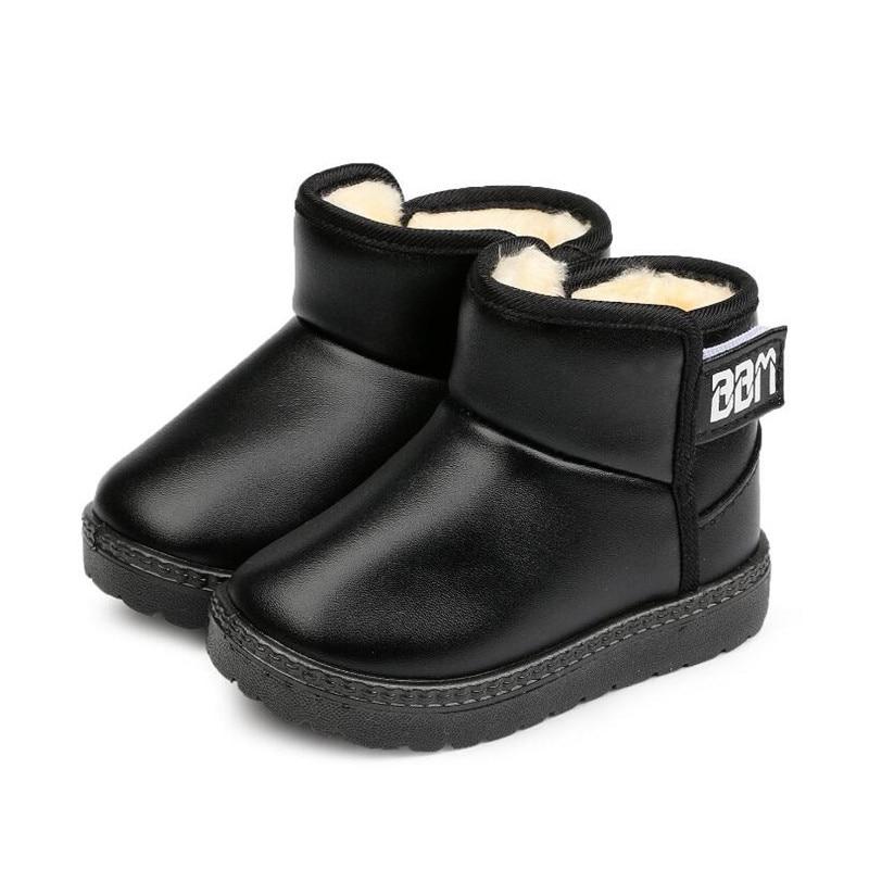 MHYONS Winter Schnee Stiefel Leder Kinder Stiefel Mit Dicken Pelz Kleid Schuhe Schwarze Turnschuhe Für Mädchen Jungen Kleinkind Besten Schuhe