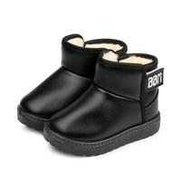 MHYONS 冬の雪子供厚い毛皮靴黒のスニーカーガールズボーイズ幼児最高の靴 -