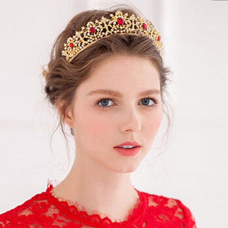 Dasma e kristalit e kuq dhe e gjelbër barok Promovimi Tiara - Bizhuteri të modës - Foto 2