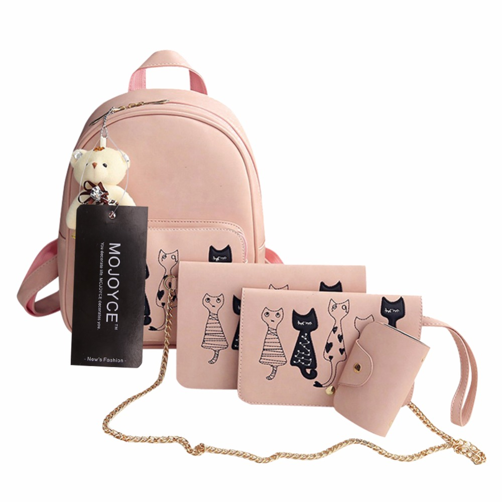 4pcs/set Small Backpacks Female School Bags For Teenage Girls Black Pink Pu Leather Women Backpack Shoulder Bag Purse Mochila #6
