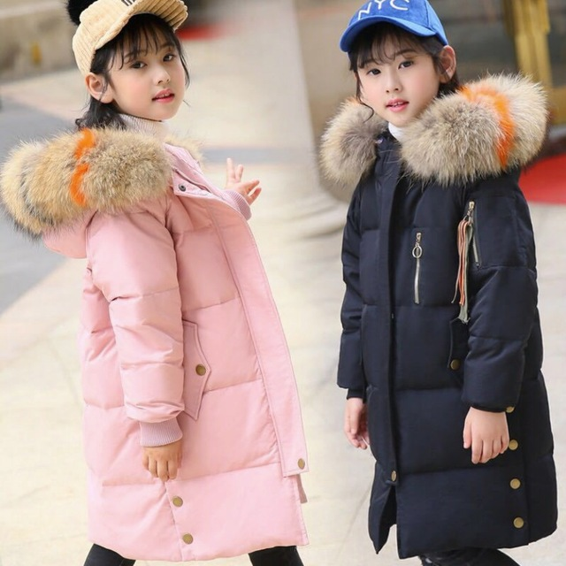 744726be244d winter jackets girls duck down coats with big fur collar russian ...