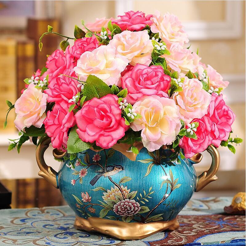 Resin Dry Flower Vase Pot Girl Figurines Sculpture Home