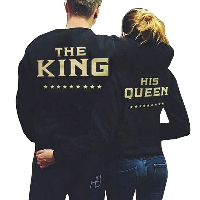 066598ae07 Couple Women Clothes Tops Hoodie Sweatshirt The King and His Queen Love Matching  Outfits Couple Clothing Girlfriend Boyfriend XL