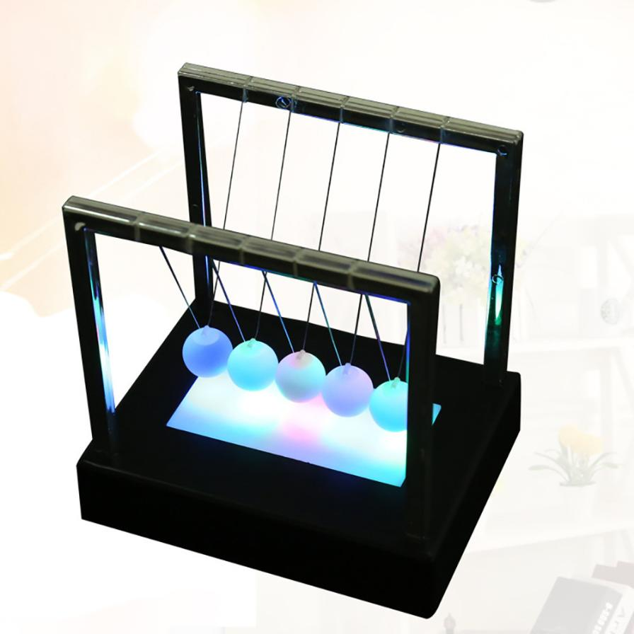 Newtons Cradle LED Light Up Kinetic Energy Home Office Science Toys Home Decor Cherryb