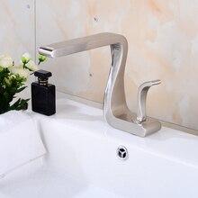 Freies Verschiffen Einzigartige Form Waschbecken Wasserfall Nickel Gebürstet  Wasserhahn Einzigen Handgriff/loch Bad Toilette Mis.
