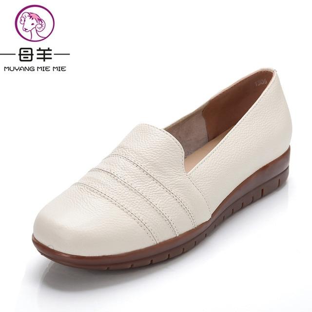 € 27.09 |Más el tamaño (35 42) mujeres Cuero auténtico plana Zapatos nueva moda de primavera y otoño casuales individuales enfermera trabajo Zapatos