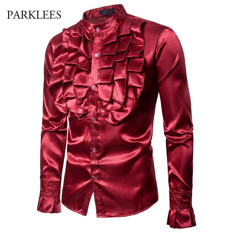 Vino rojo gran flor hombres Camisa seda satén pétalo manga esmoquin vestido para Hombre Camisas escenario fiesta boda cena Prom Camisa Hombre XXL