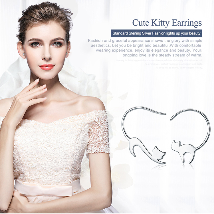 925 Sterling Silver Cute Cat Earrings
