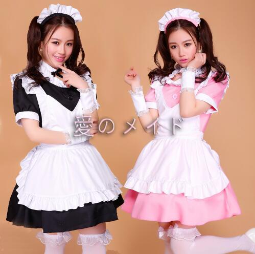 Robe de femme de chambre rose/noire Lolita femmes Costume de Cosplay Alice Anime Cosplay robes de Club de fête vêtements de travail Costumes pour femmes - 5