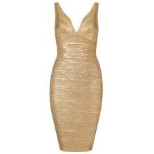 Сексуальные модные высококачественные вечерние бандажные платья с v-образным вырезом золотого и металлического цвета, цвет черный, зеленый, красный, металлик