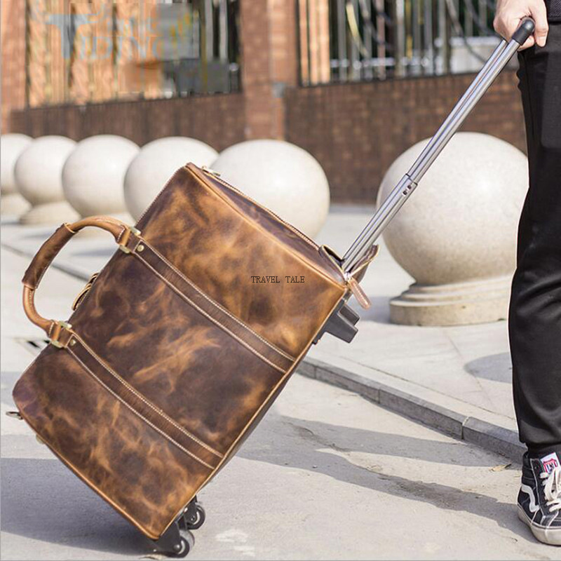 TRAVEL TALE men retro cabin luggage genuine leather cabin trolley travel bag with wheels