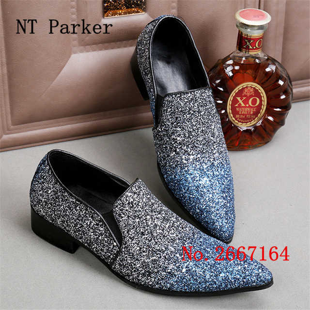 Bling Paillette Men Casual Wedding Shoes Loafers Luxury Ntparker  Espadrilles Men Pointed Toe Dress Shoes Male Creepers Shoes f5694f2fa807