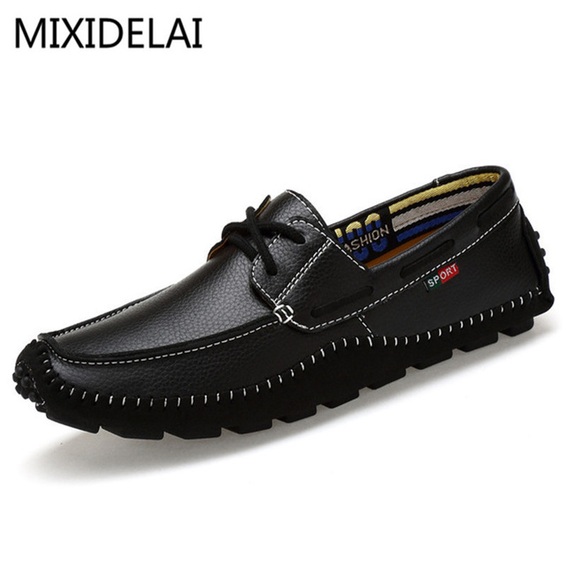 MIXIDELAI Big Size High Quality Genuine Leather Men Shoes Soft Moccasins Fashion Brand Men Flats Comfy Casual Driving Boat36-47 men luxury brand new genuine leather shoes fashion big size 39 47 male breathable soft driving loafer flats z768 tenis masculino