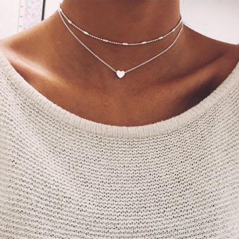 Collar de gargantilla de corazón pequeño para mujer cadena de oro y plata collar de amor Smalll colgante en el cuello bohemio collar de joyería